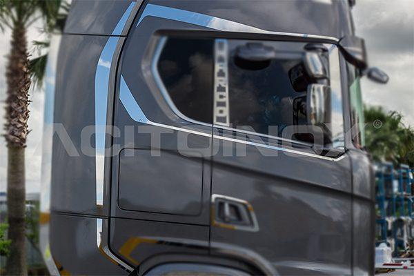 kit perfil ventana y spoiler inox scania serie s y serie r